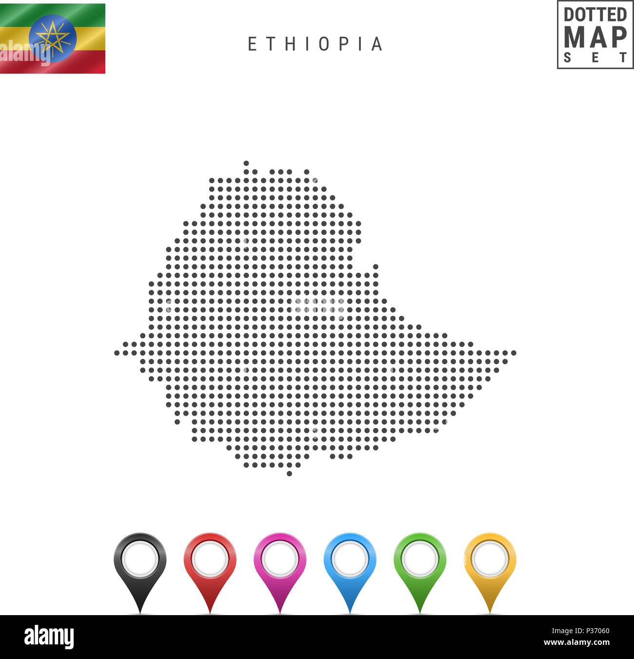 Vector Dotted Map of Ethiopia. Simple Silhouette of Ethiopia. National Flag of Ethiopia. Set of Multicolored Map Markers - Stock Vector