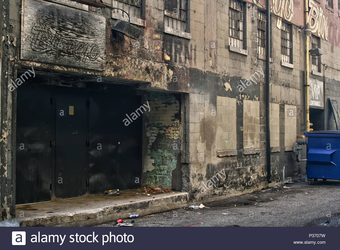 Windsor, Ontario, Canada.  April 2015 --- Decrepit abandoned building rotting in downtown, Windsor, Ontario, Canada. Windsor is part of an area called - Stock Image