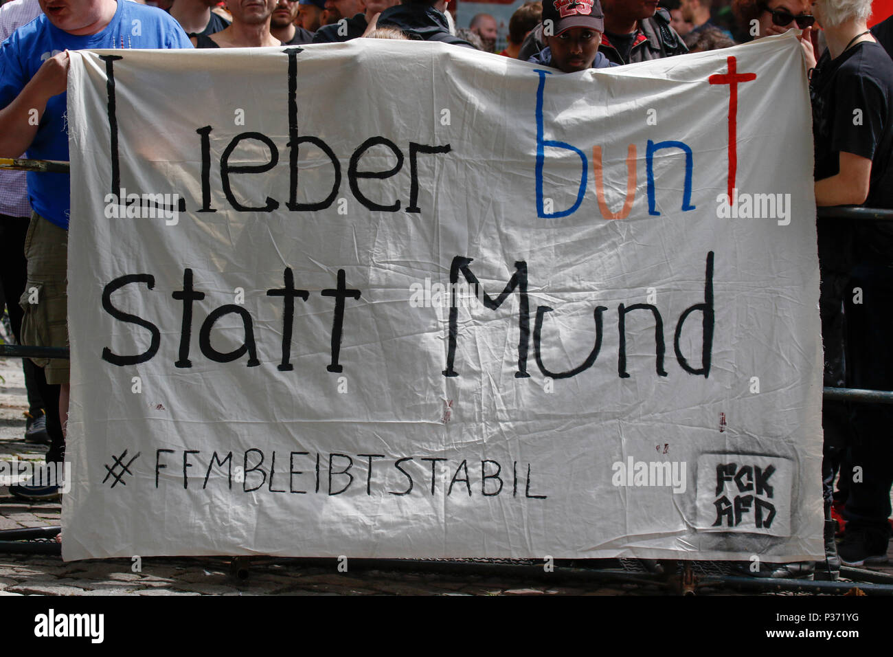 Frankfurt Germany 17th Jun 2018 A Counter Protester Holds Up A
