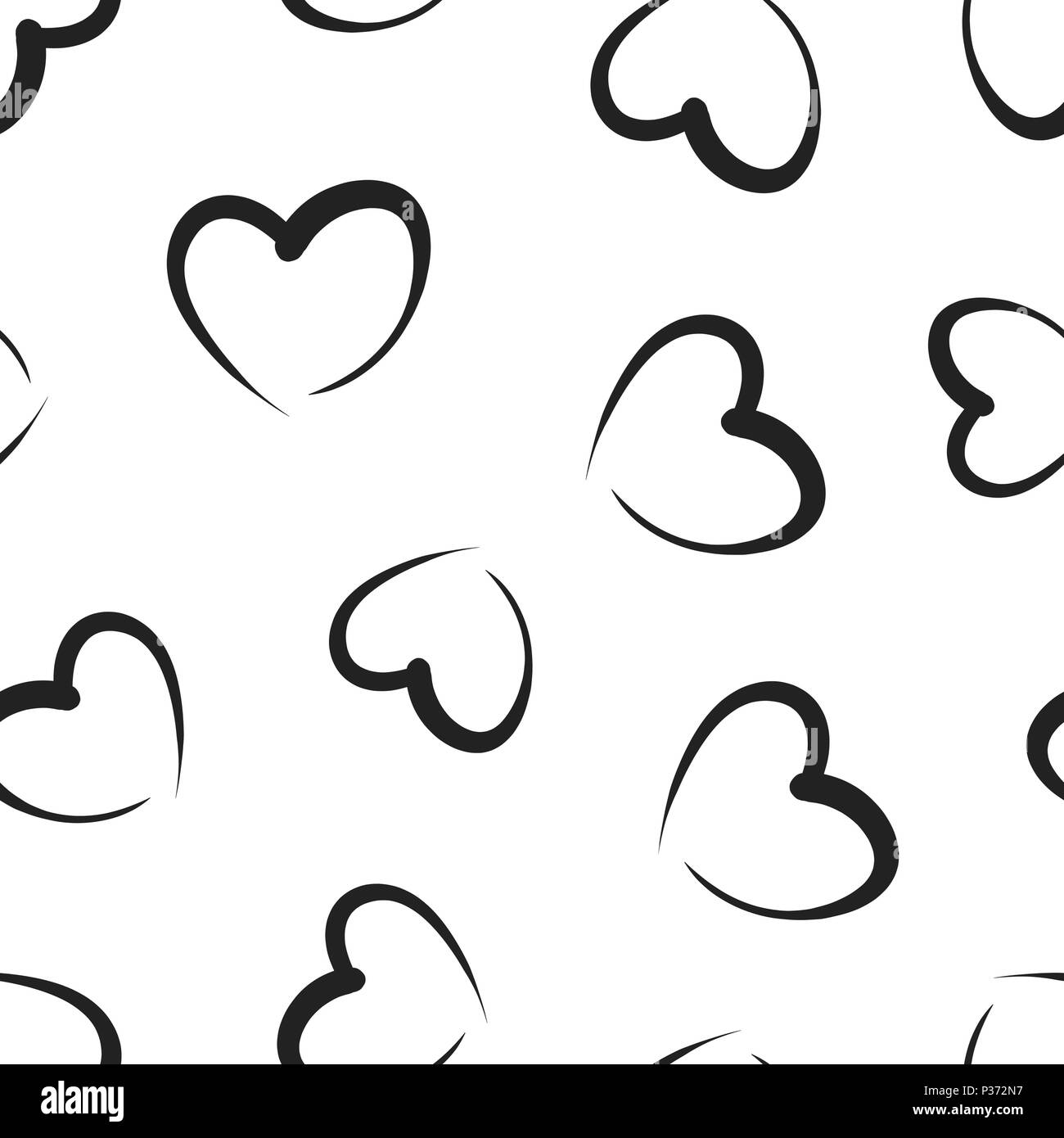 Hand Drawn Hearts Icon Seamless Pattern Background Business Concept