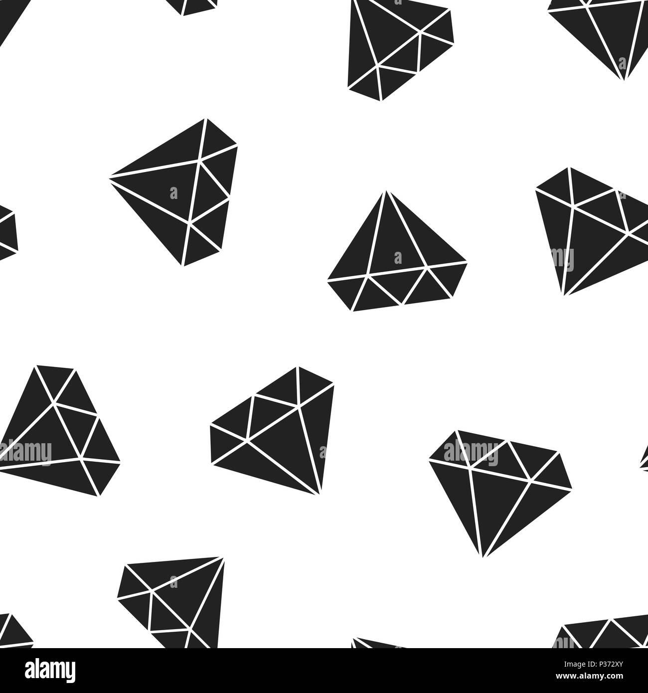 Diamond jewel gem icon seamless pattern background. Business concept vector illustration. Jewelry brilliant gemstone symbol pattern. - Stock Image