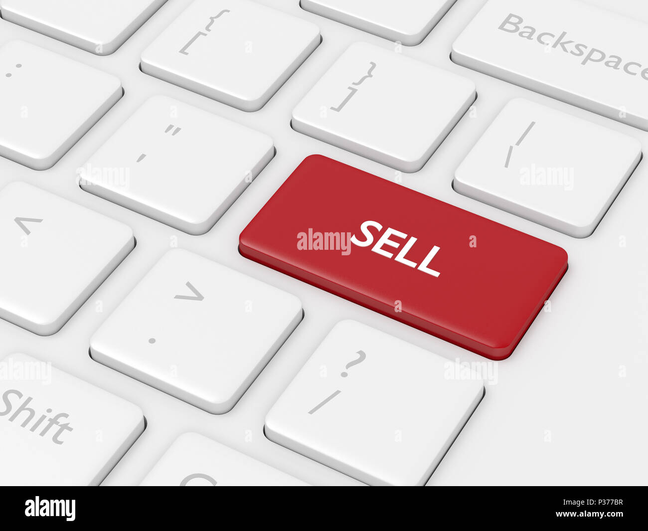 3d render closeup of computer keyboard with sell button - Stock Image