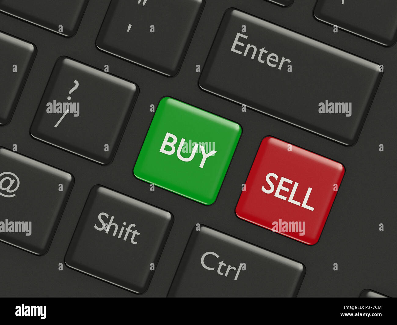 3d render closeup of computer keyboard with buy and sell buttons - Stock Image
