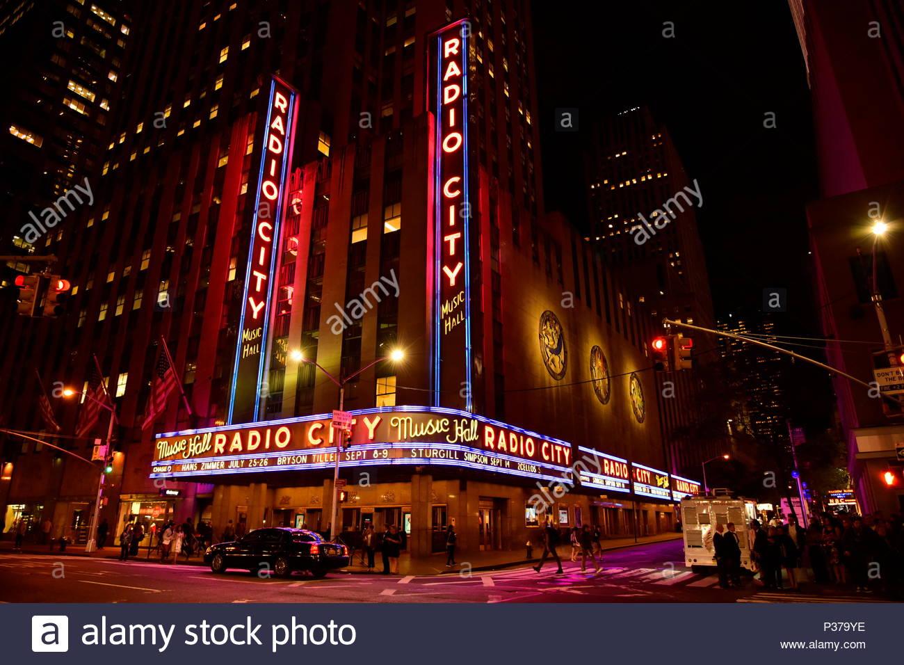 Radio City Music Hall At Night, New York City   Stock Image