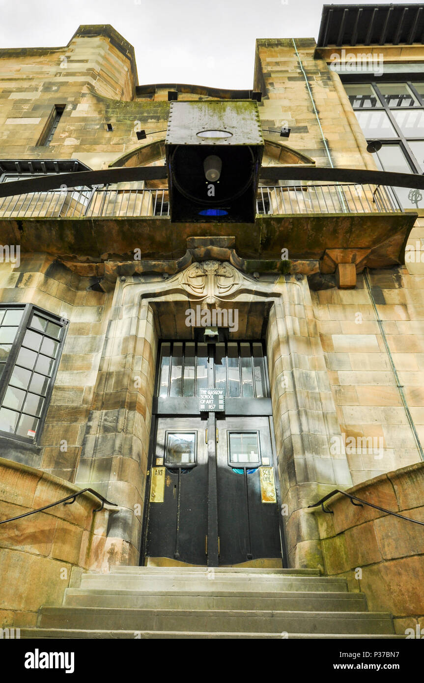 Glasgow School of Art entrance, Glasgow, Scotland, UK - Stock Image