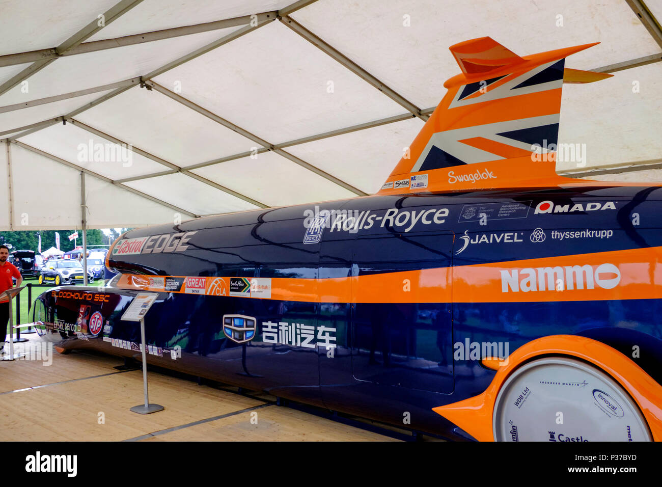 The 2018 Bath festival of motoring at Walcot Rugby Ground, Bath Somerset england uk Replica of Thrust SSC record breaking car - Stock Image