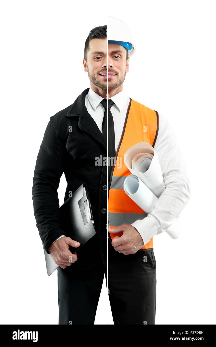 Comparison of businessman and architect's outlook.Businessman wearing classic suit with white shirt, black tie, keeping black folder. Architect wearing orange vest, helmet, keeping papers. - Stock Image