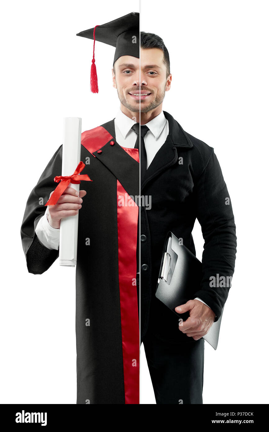 Comparison of businessman and graduate\'s outlook. Student wearing ...
