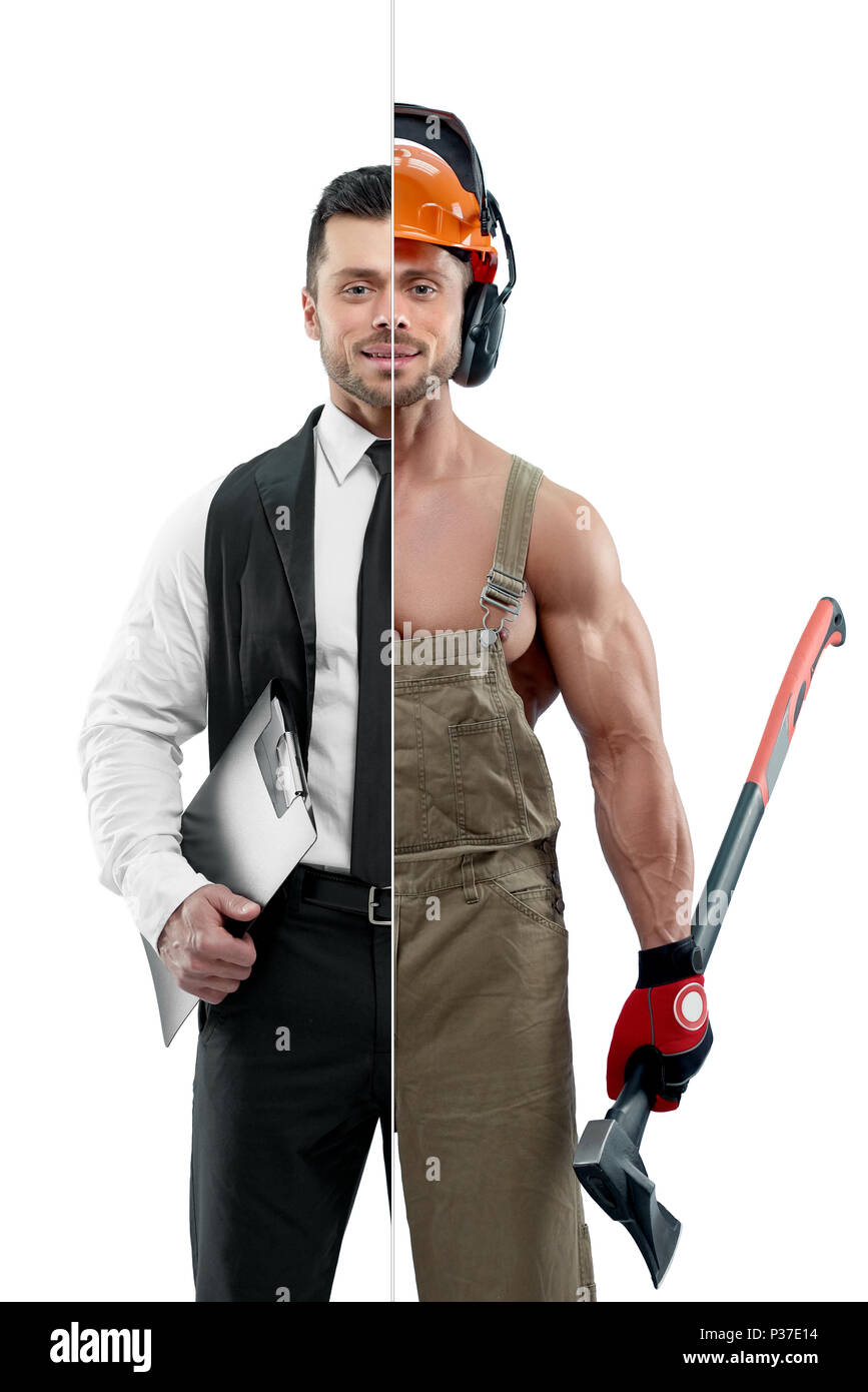 Comparison of manager and woodcutter's outlook. Manager wearing classic white shirt with black tie and keeping black folder. Woodcutter wearing uniform, protective helmet and keeping an axe. - Stock Image