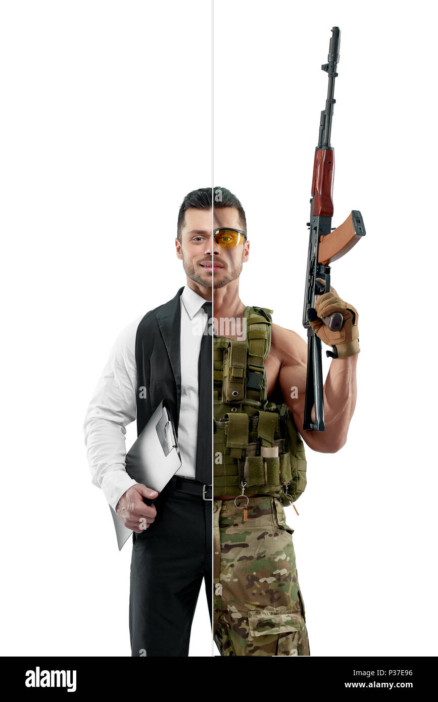 Comparison of manager and soldier's outlook. Manager wearing classic white shirt with black tie and keeping black folder. Military man wearing khaki uniform, Kalashnikov automatic machine. - Stock Image