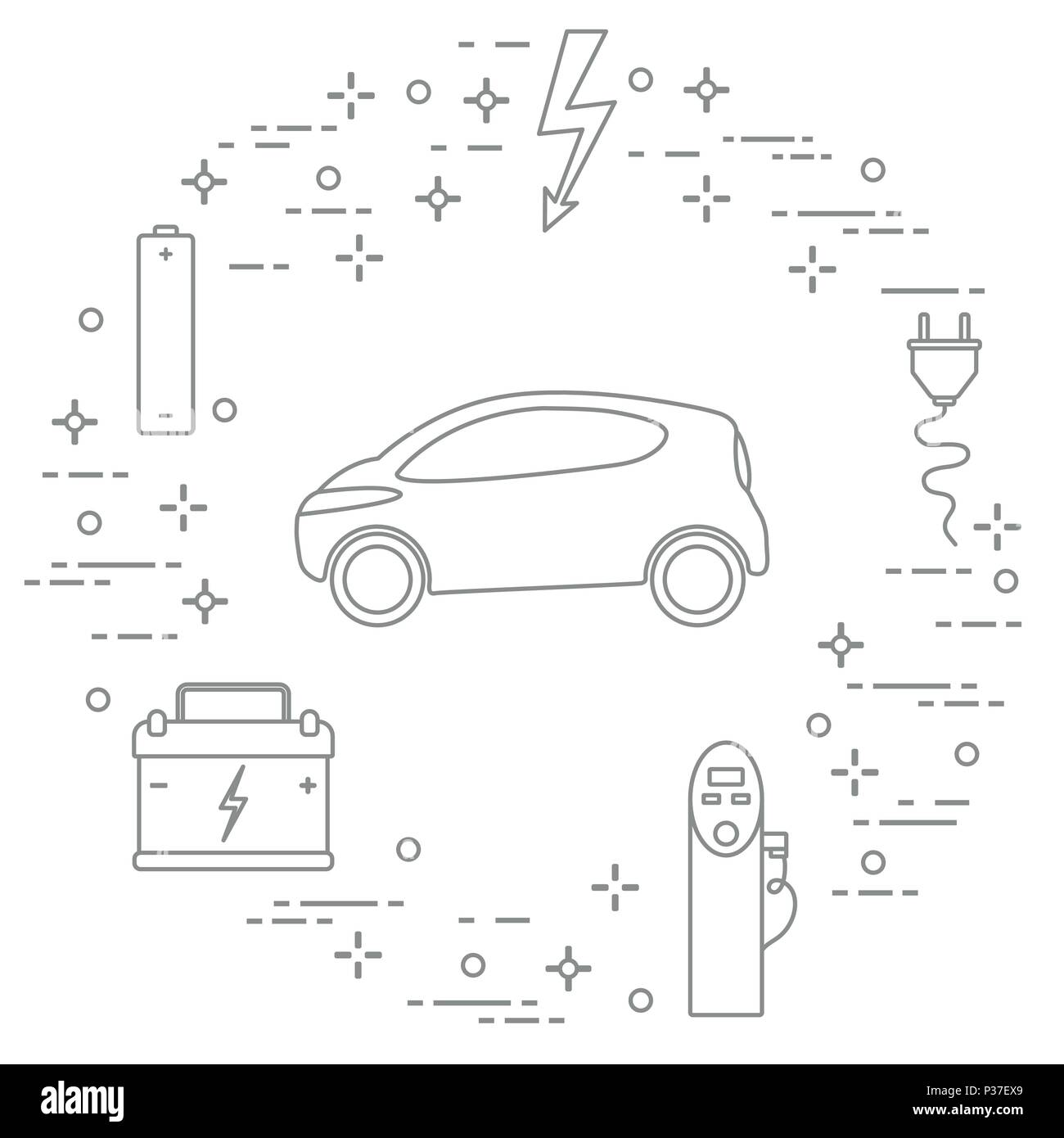 Electric Vehicle Charging Station Black And White Stock Photos Ev Stations Wiring Diagram Car Battery Electrical Safety Sign Cable Plug