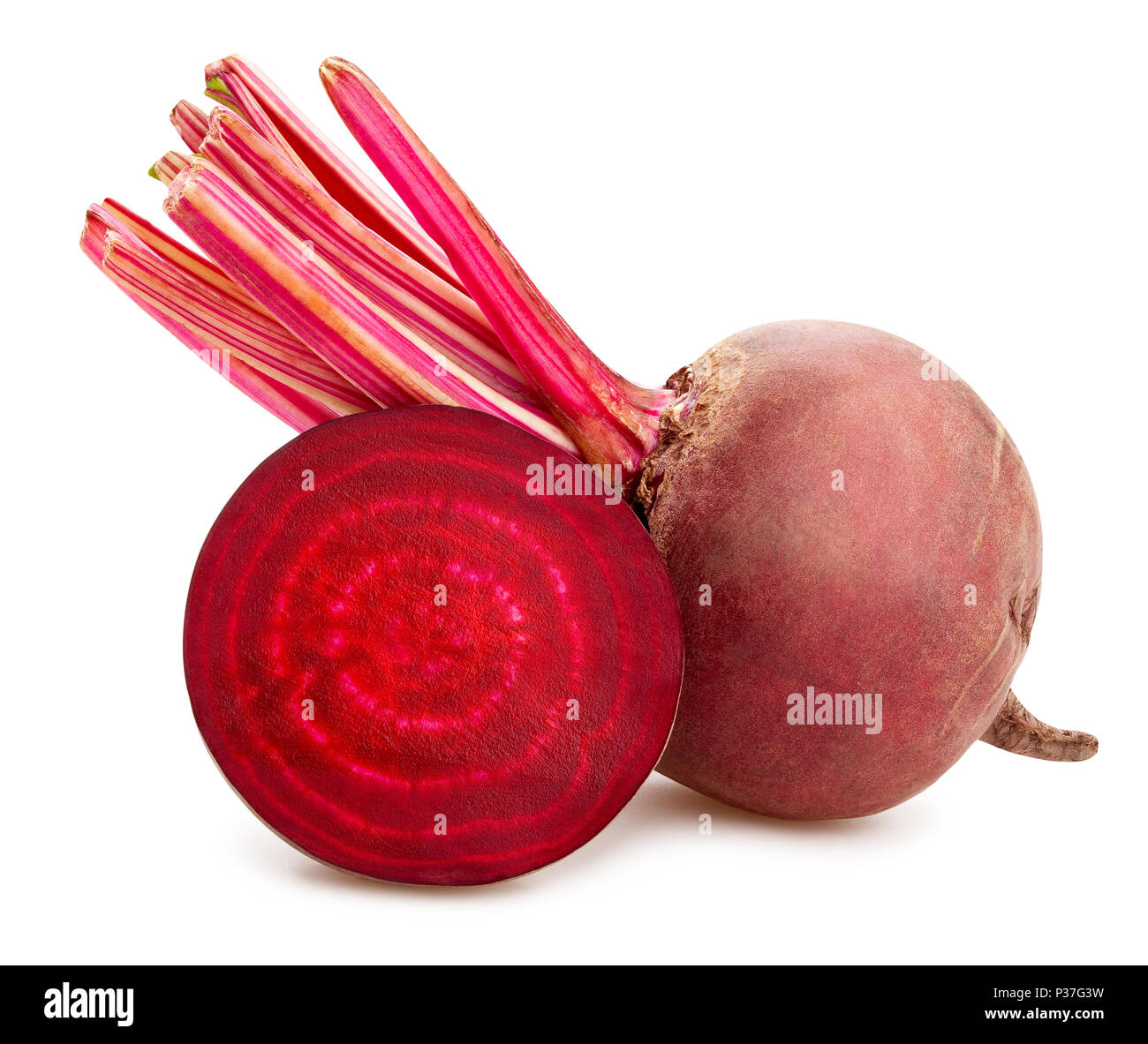 sliced beetroot path isolated Stock Photo