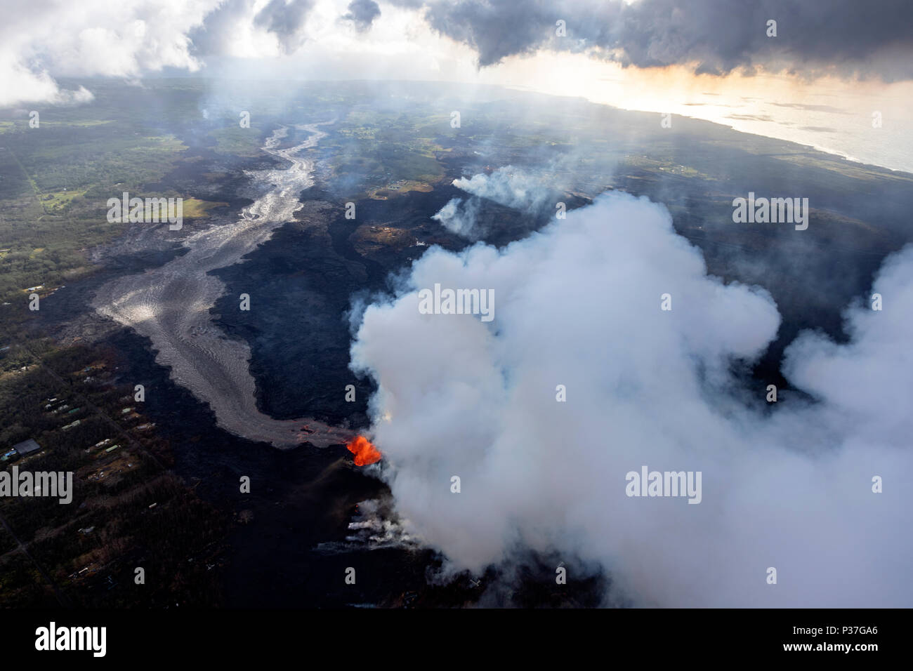 Aerial view of the eruption of the volcano Kilauea on Hawaii, in the picture Fissure 8, May 2018 - Stock Image