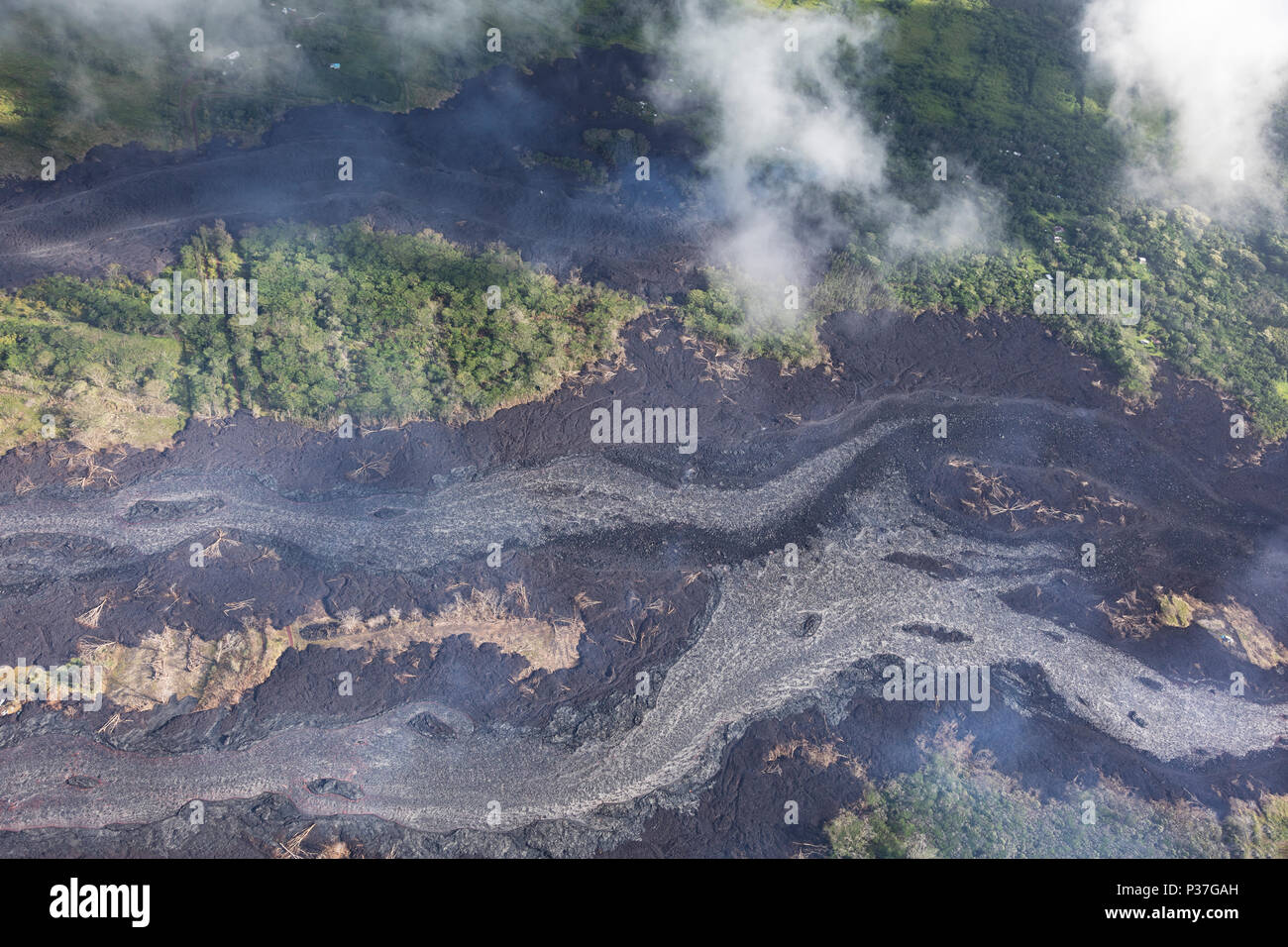 Aerial view of lava flows from the eruption of volcano Kilauea on Hawaii, May 2018 - Stock Image