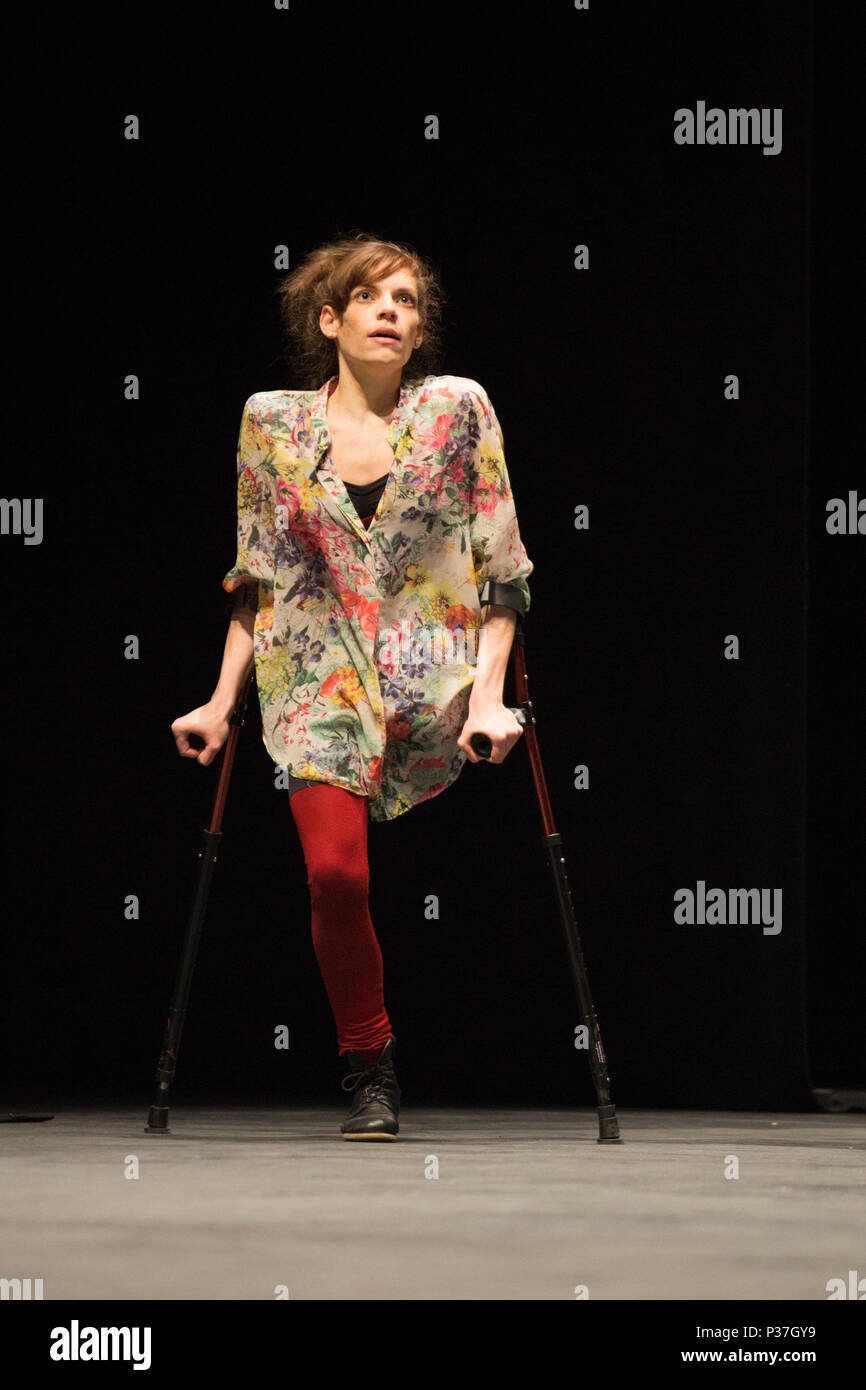 London, UK. 20 March 2015. Pictured: Tanja Erhart. Sadler's Wells presents a weekend of inclusive dance from 20 to 22 March 2015. Candoco Dance Company, a contemporary dance comapny of disabled and non-disabled performers presents a restaging of Jerome Bel's award-winning The Show Must Go On. The weekend also includes the final performances of the inaugural year of the Sadler's Wells =dance series, a presentation of inclusive dance by both established and emerging deaf and disabled artists in the Lilian Baylis Studio. Stock Photo