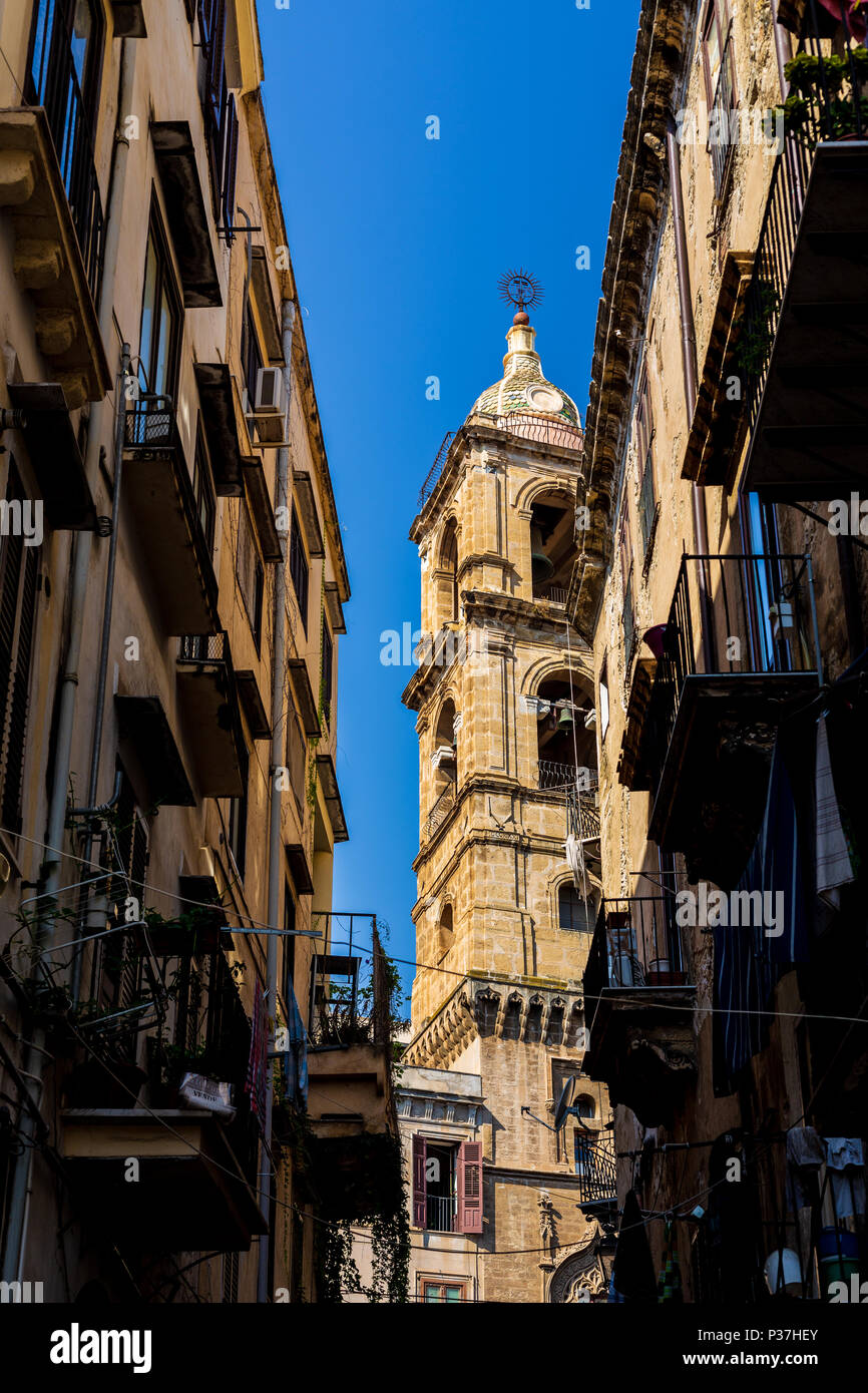 View of a street in Palermo, Sicily, Italy - Stock Image