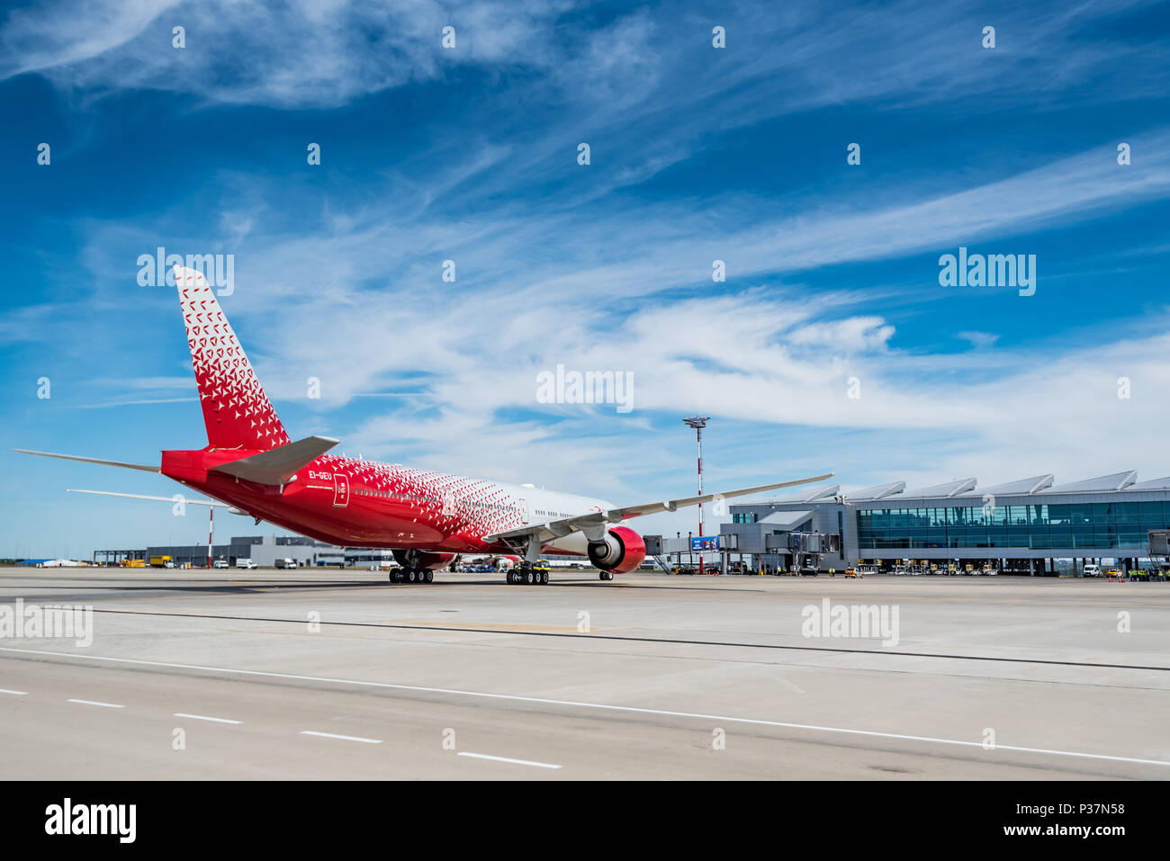 ROSTOV-ON-DON, RUSSIA - 17 JUNE 2018: Boeing 777-300ER of Rossiya airlines in Platov international airport. Stock Photo