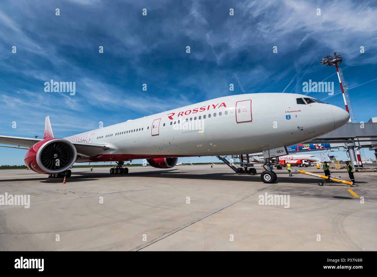 ROSTOV-ON-DON, RUSSIA - 17 JUNE 2018: Boeing 777-300ER of Rossiya airlines in Platov international airport. - Stock Image
