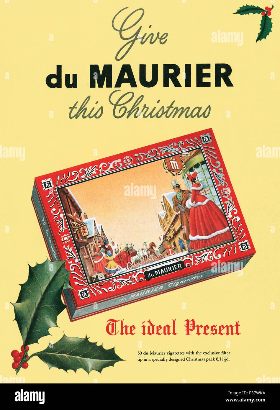 1952 British Christmas advertisement for du Maurier cigarettes. - Stock Image