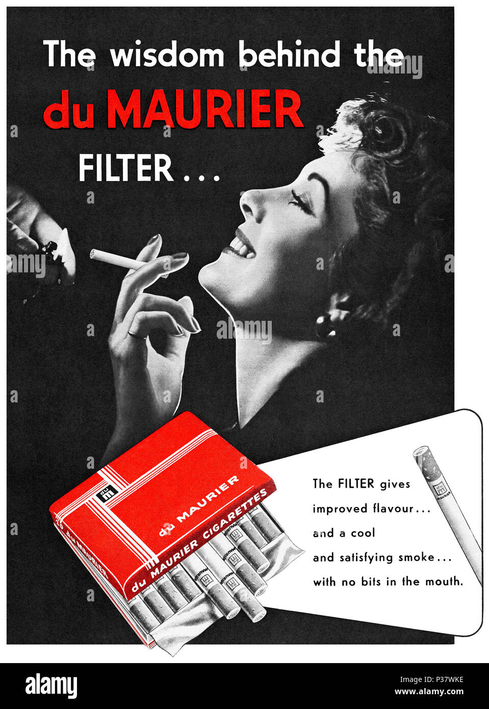 1952 British advertisement for du Maurier filter cigarettes. - Stock Image