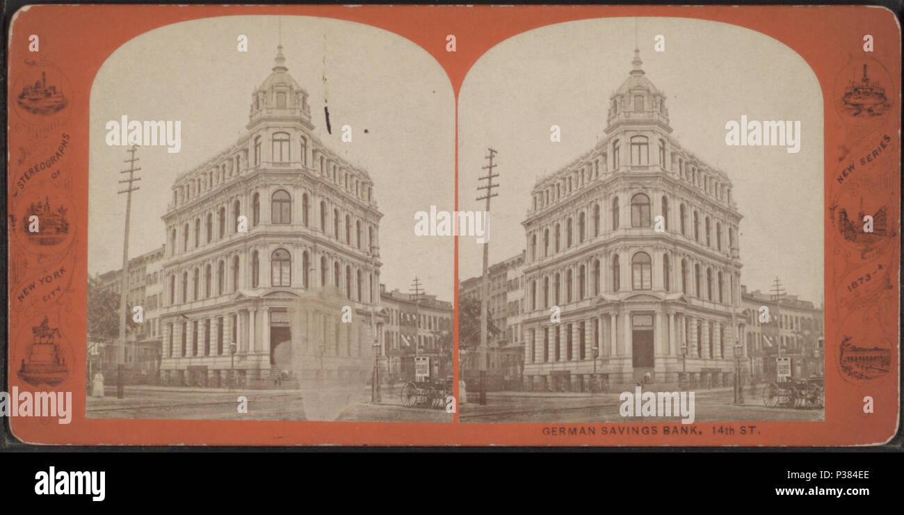 . German Savings Bank, 14th St. Alternate Title: Stereographs of New York City, new series, 1873-4.  Created: 1860?-1870?.  Coverage: [1860?-1870?]. Digital item published 8-31-2005; updated 2-11-2009. 123 German Savings Bank, 14th St, from Robert N. Dennis collection of stereoscopic views - Stock Image