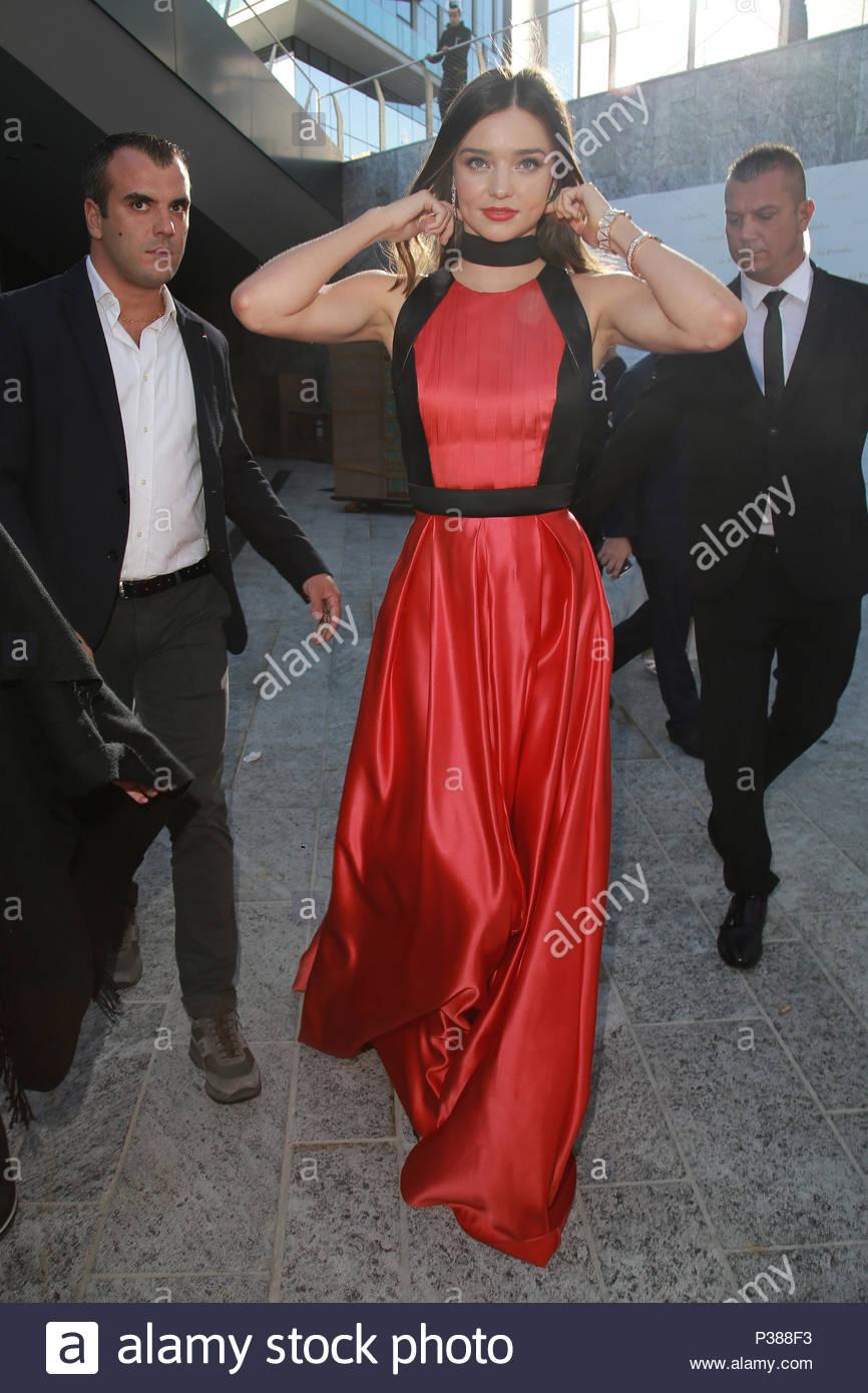 Miranda Kerr. Miranda Kerr arrives at her hotel in a stunning red ...