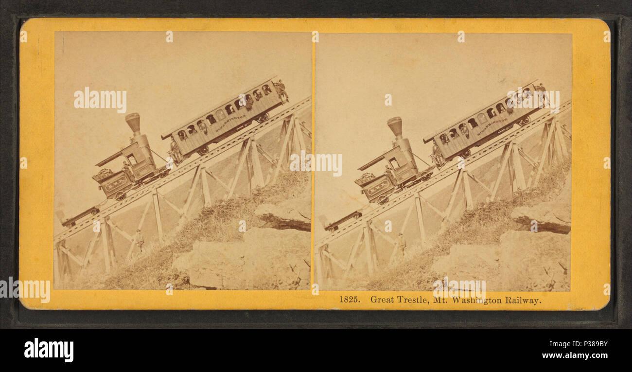 . Great Tresle, Mt. Washington Railway.  Coverage: 1864?-1892?. Digital item published 2-16-2006; updated 6-25-2010. 131 Great Tresle, Mt. Washington Railway, by Kilburn Brothers Stock Photo
