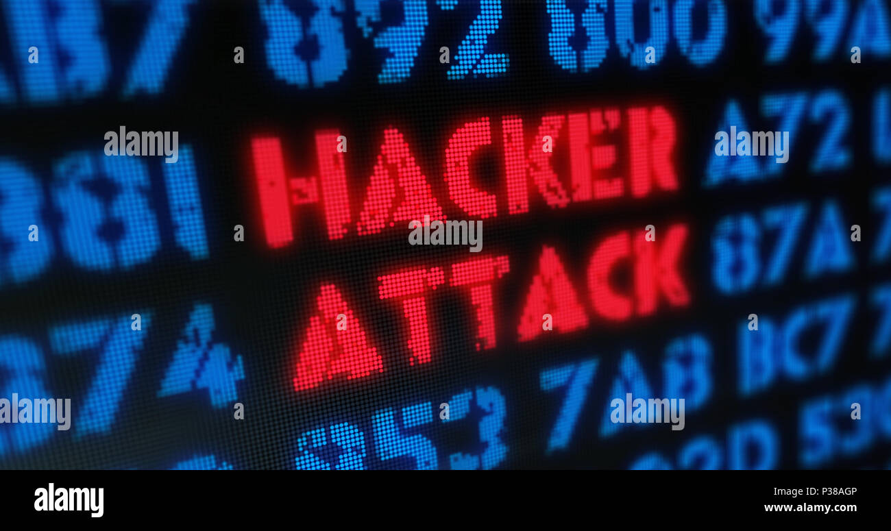 Cyber attack and hacker attack concept. Red alert, warning and buzzword in screen stylised illustration. - Stock Image