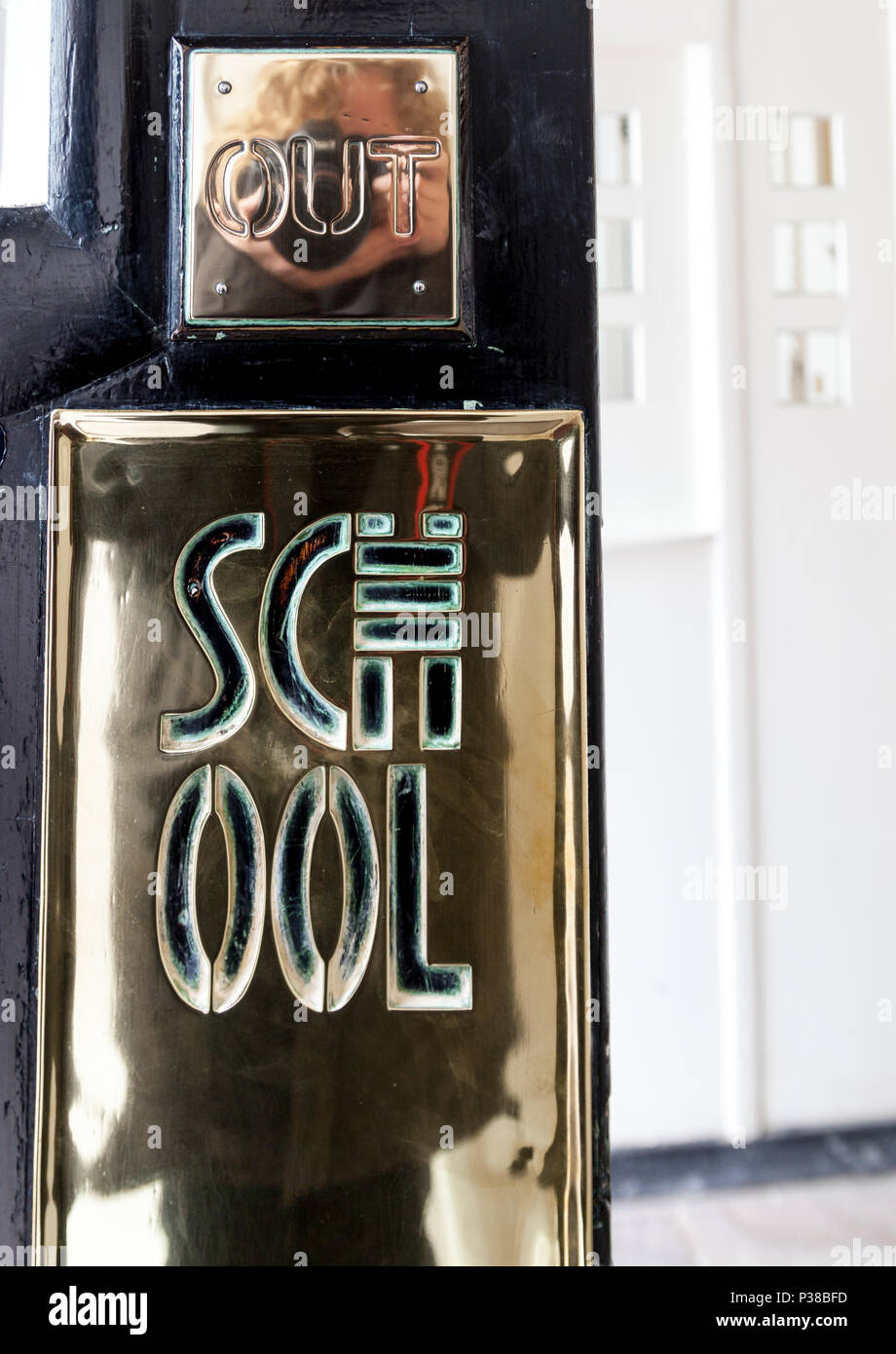 Brass plate in the entrance at the Glasgow School of Art designed by architect Charles Rennie Mackintosh. Building has been recently destroyed by fire - Stock Image