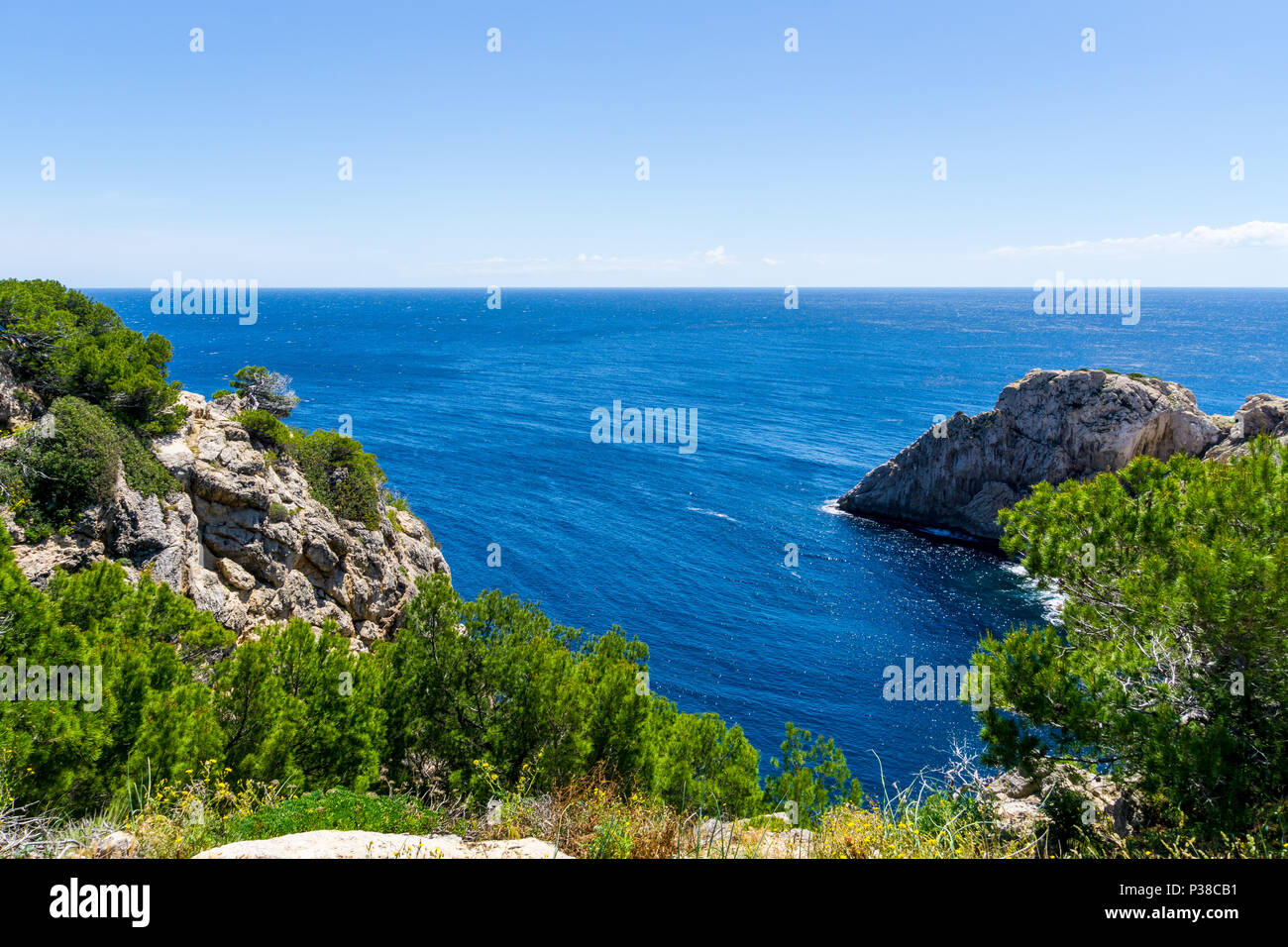 Mallorca, Above the blue sea at the cliffline of capdepera - Stock Image
