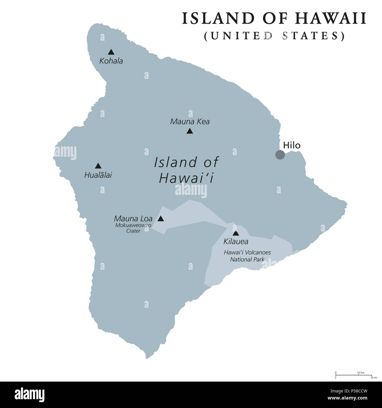 Island of Hawaii, gray colored political map. Largest island in the ...