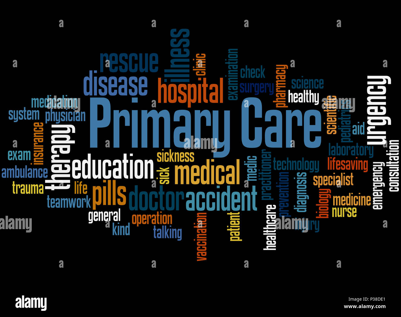 Primary care, word cloud concept on black background. - Stock Image