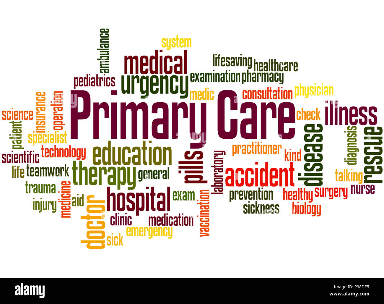 Primary care, word cloud concept on white background. - Stock Image