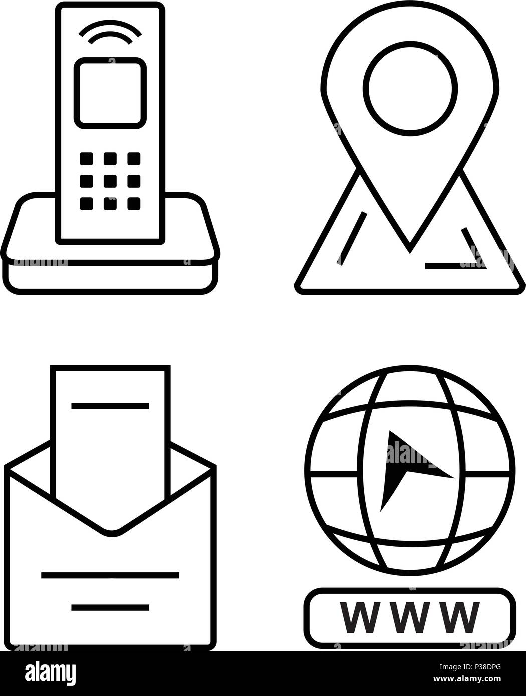 Thin Icons For Business Card Office Phone Marker On The Map Email