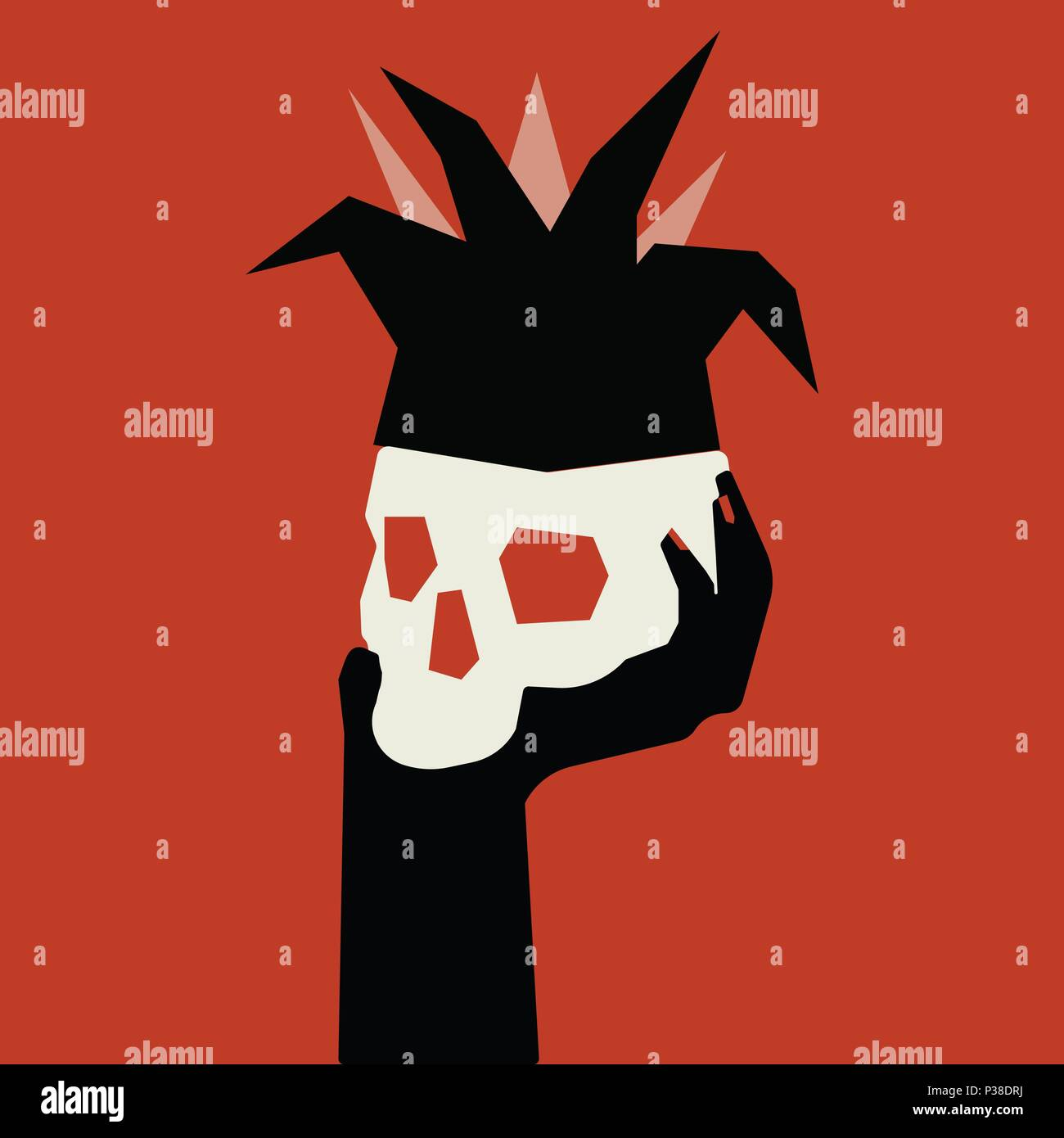 Skull in a clown hood on a woman s hand. Vector illustration on a bright red background. - Stock Vector