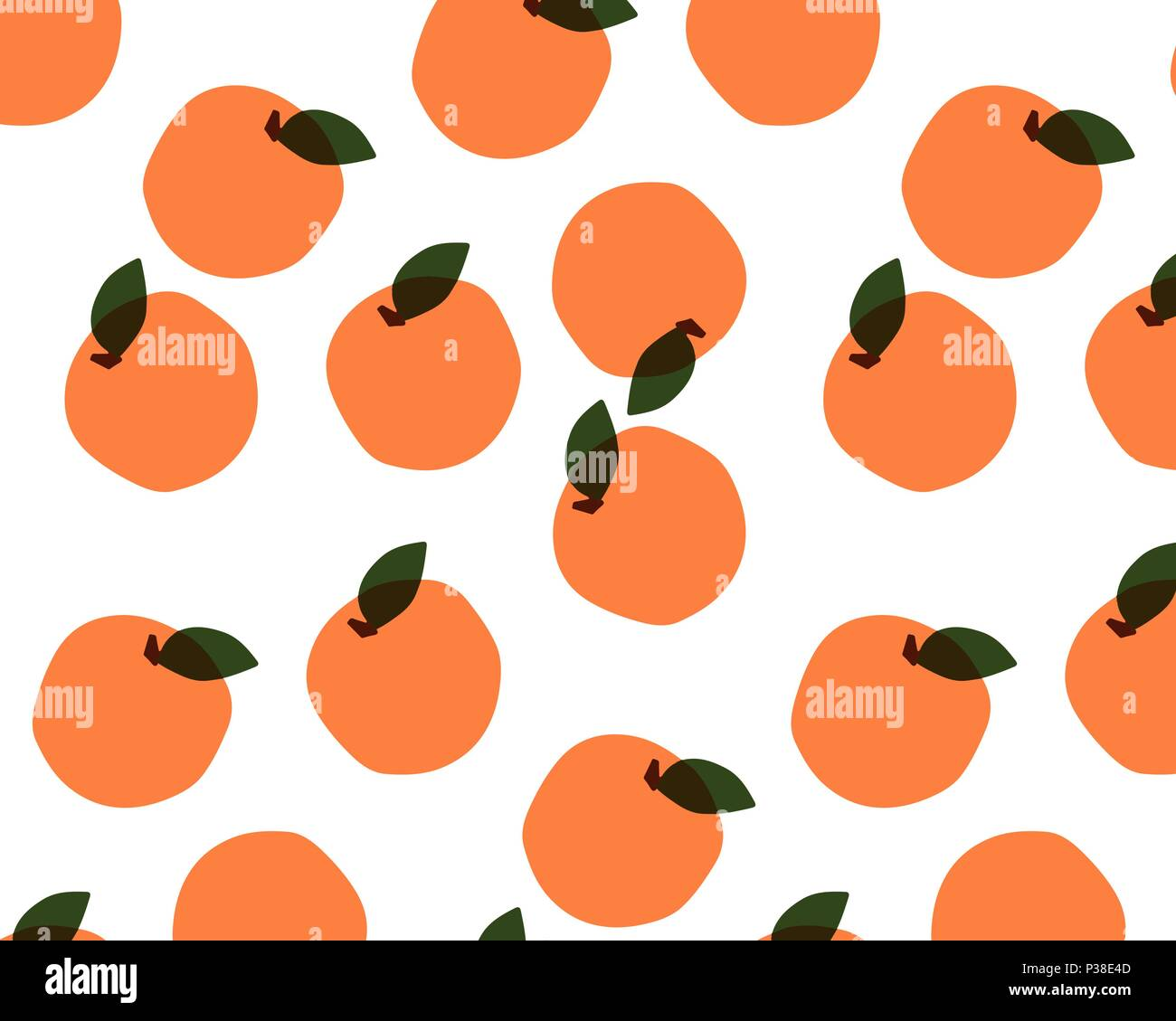 Seamless pattern with fruits on white background. Oranges, peaches, apricots. Vector illustration - Stock Vector