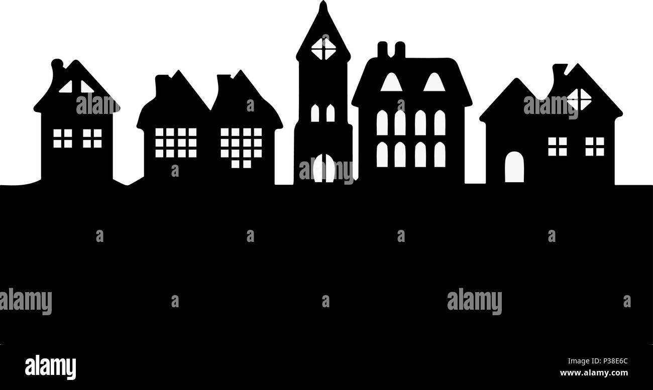 Silhouette of a city landscape. Simple vector illustration. Black-and-white picture. - Stock Vector