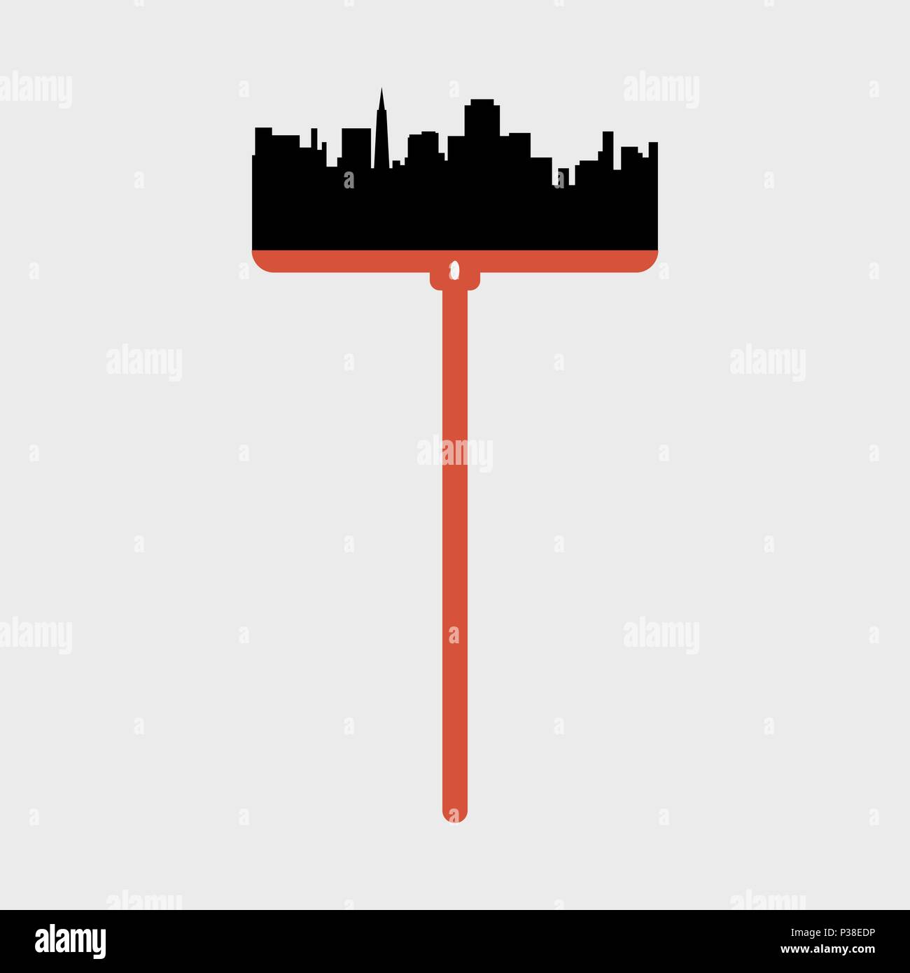 Silhouette of a city landscape on a place of a bristle at a mop. Vector illustration. - Stock Vector