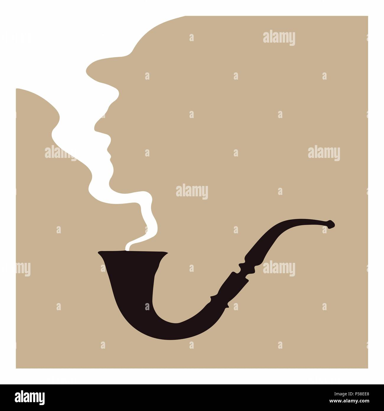 Silhouette of a man from the smoke from a pipe. Vector illustration. Character Sherlock Holmes. - Stock Image