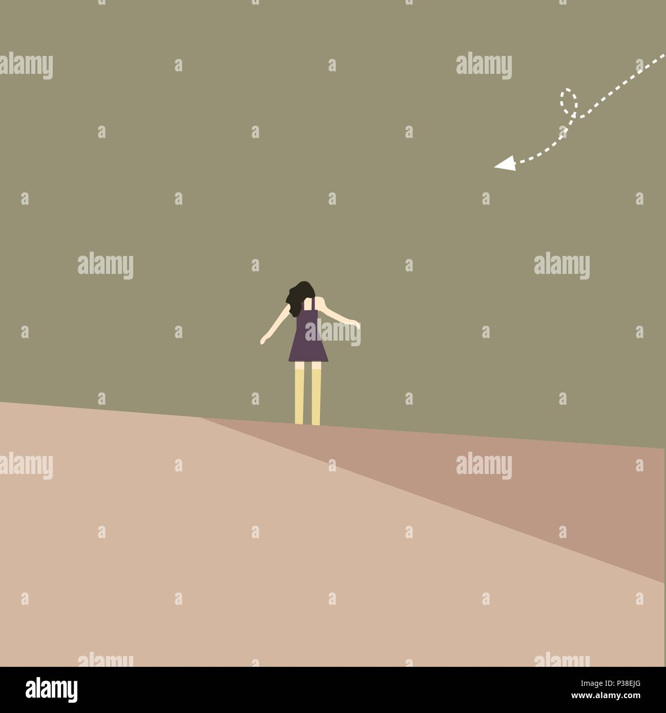 The girl stand on the edge of the field. In a palate flies paper miniature aircraft. A vectorial illustration in style minimalism. - Stock Vector