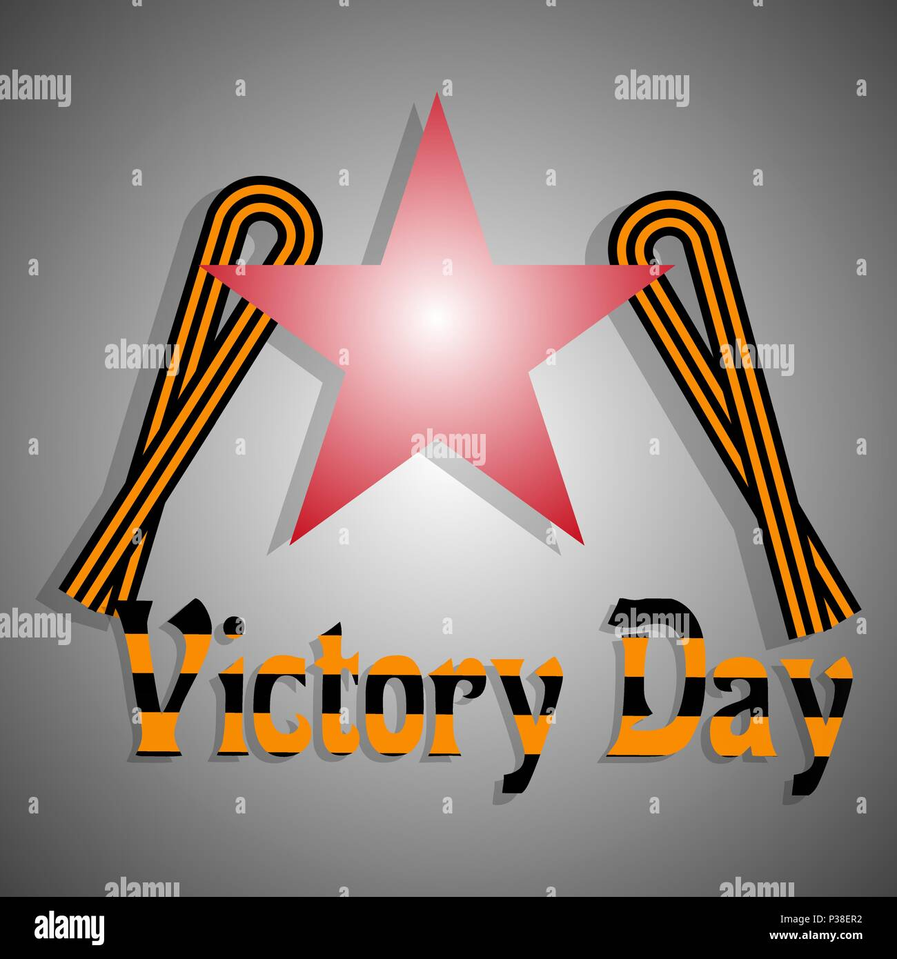 9th May Victory Day. Vector illustration. A congratulatory inscription, a St.George's Ribbon and a star on a gray background with a gradient. - Stock Vector