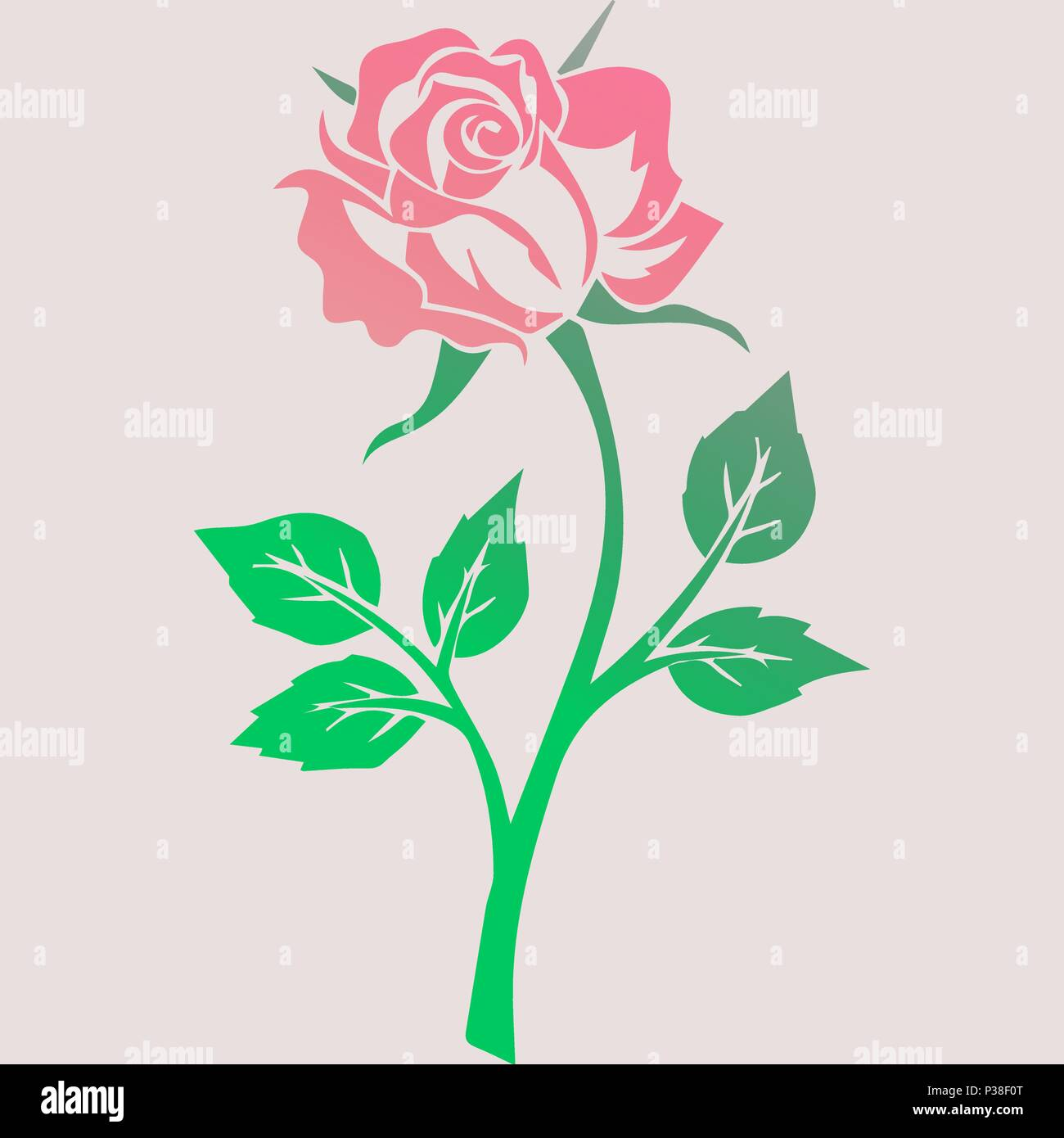 Vector illustration of a pink rose in gentle flowers - Stock Vector