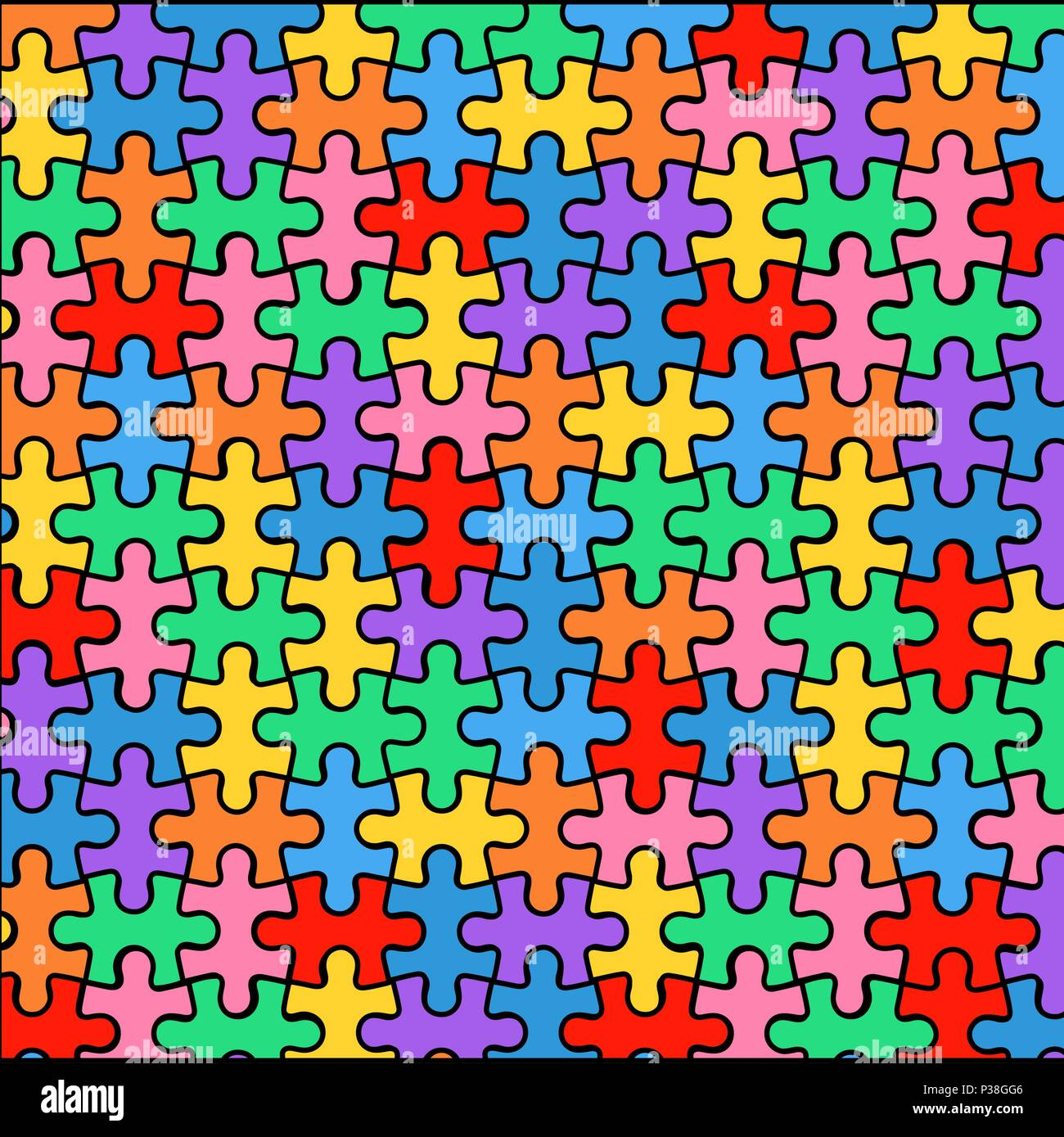 Multi-colored background from puzzles. Vector illustration of a bright background. - Stock Vector