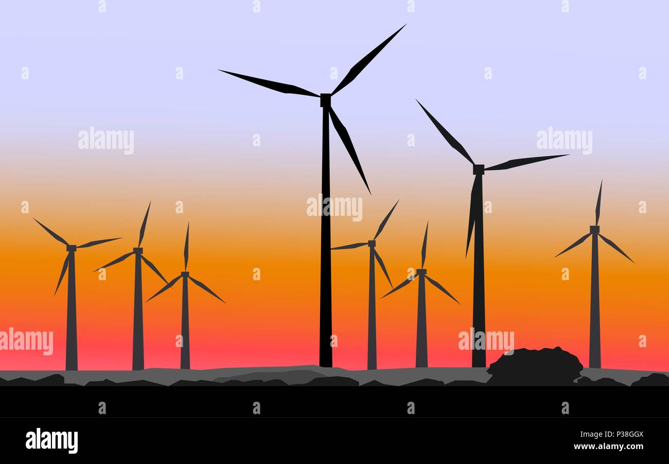 Wind mills against the background of a sunset. Vector illustration. - Stock Vector
