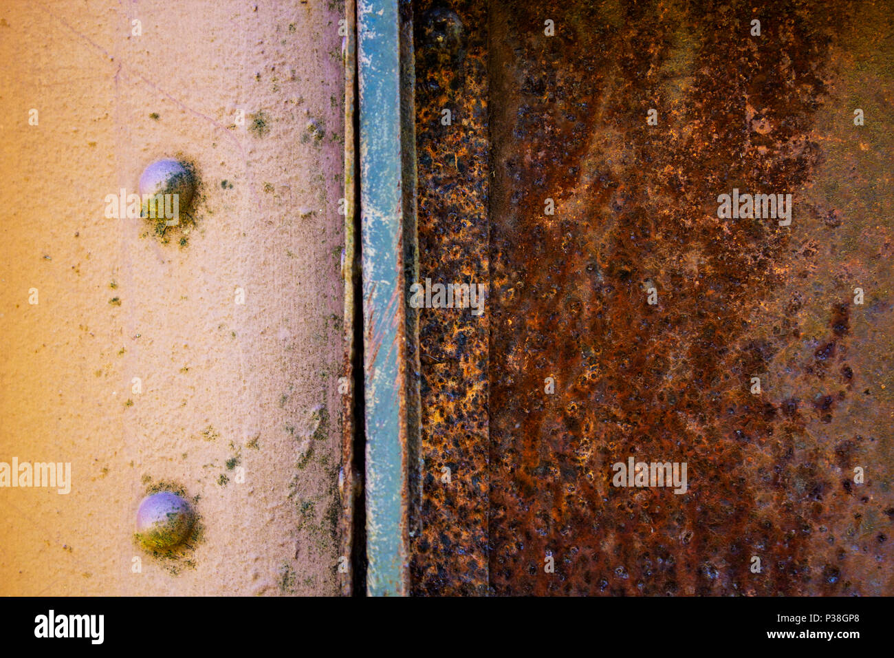 Rusty panel side of an antique Railway Coach - Stock Image