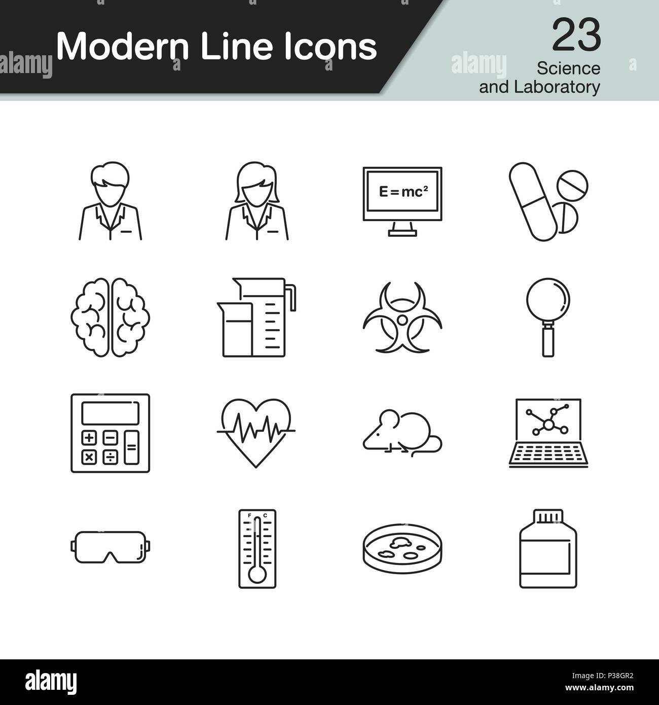 Science and Laboratory icons. Modern line design set 23. For presentation, graphic design, mobile application, web design, infographics. Vector illust - Stock Image