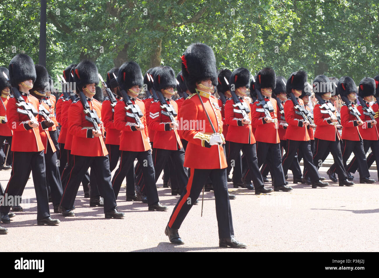 Coldstream guards marching down the Mall for the Trooping the colour London 2018 Stock Photo