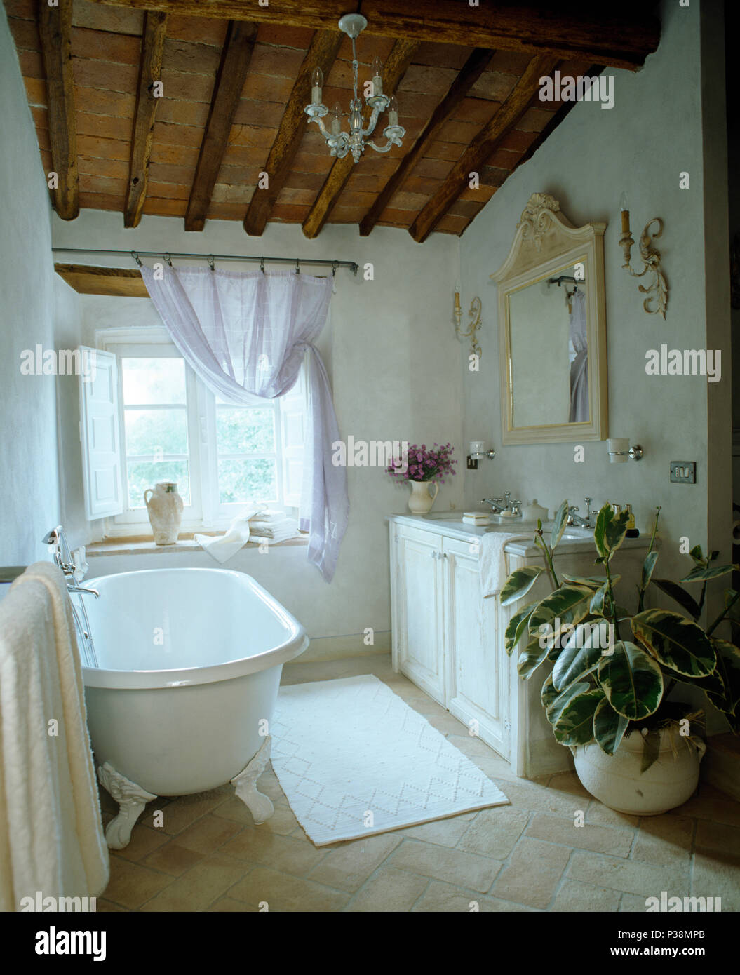 Roll-top bath and large houseplant in Tuscan country bathroom with on
