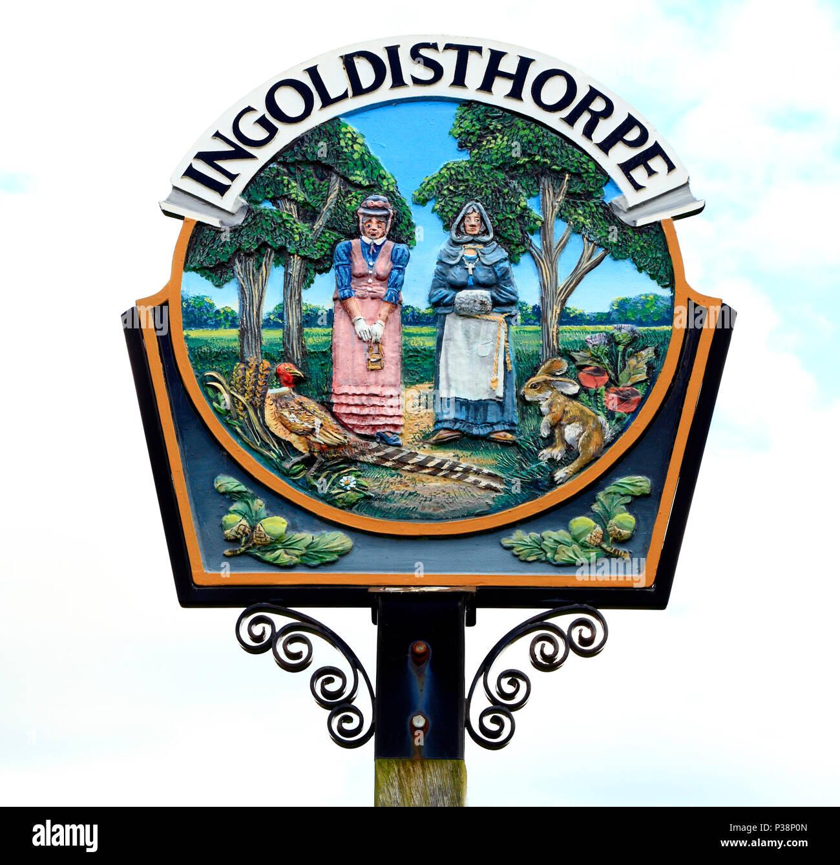 Ingoldisthorpe, Norfolk, Village Sign, England, UK - Stock Image