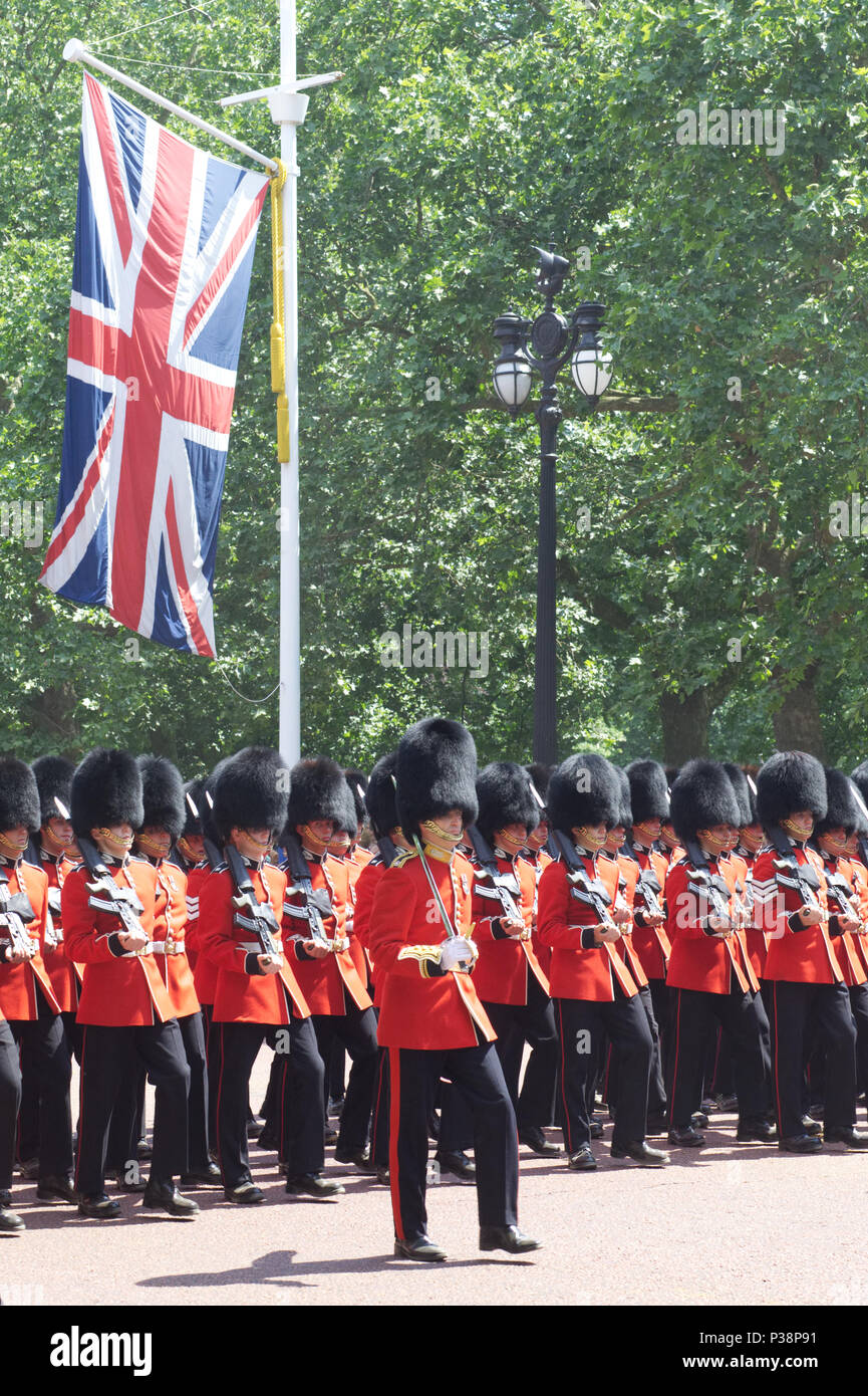 The Scots Guards marching down the Mall for the Trooping the colour London 2018 Stock Photo